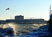 Kiel - Seegang an der Strander Hafenmauer 2