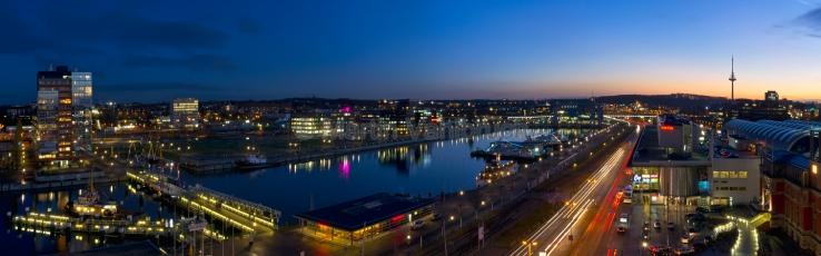 Panorama Kiel - Die Hörn bei Nacht