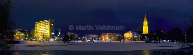 Panorama Kiel - Winterabend am kleinen Kiel