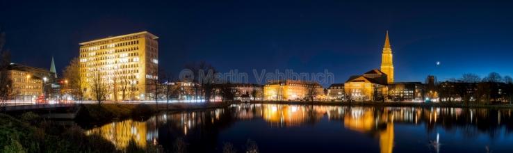 Panorama Kiel - am kleinen Kiel bei Nacht