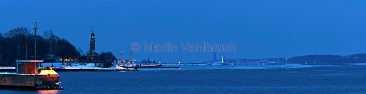 Panorama Kiel - Holtenau nach Laboe am Winterabend