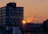 Hafenhaus im Sonnenuntergang