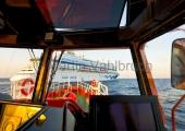 """Kiel - auf dem Lotsenversetzboot in Anfahrt auf die """"Aidacara"""""""