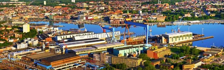 Kiel aus der Luft -  Panorama HDW Werft