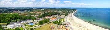 Travemünde - Hotels und Strandpromenade von oben Panorama 1